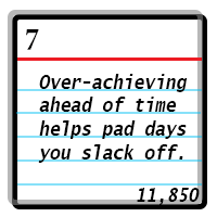 Day 7: Over-achieving ahead of time helps pad days you slack off. Word Count 11850.