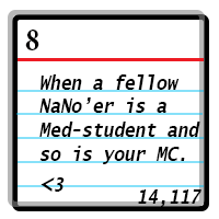 Day 8: When a fellow NaNo'er is a Med-student and so is your MC. heart. Word Count 14117.