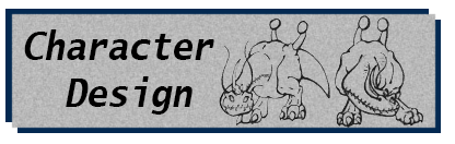Character Design Portfolio Label showing two poses from a monster turn-around.